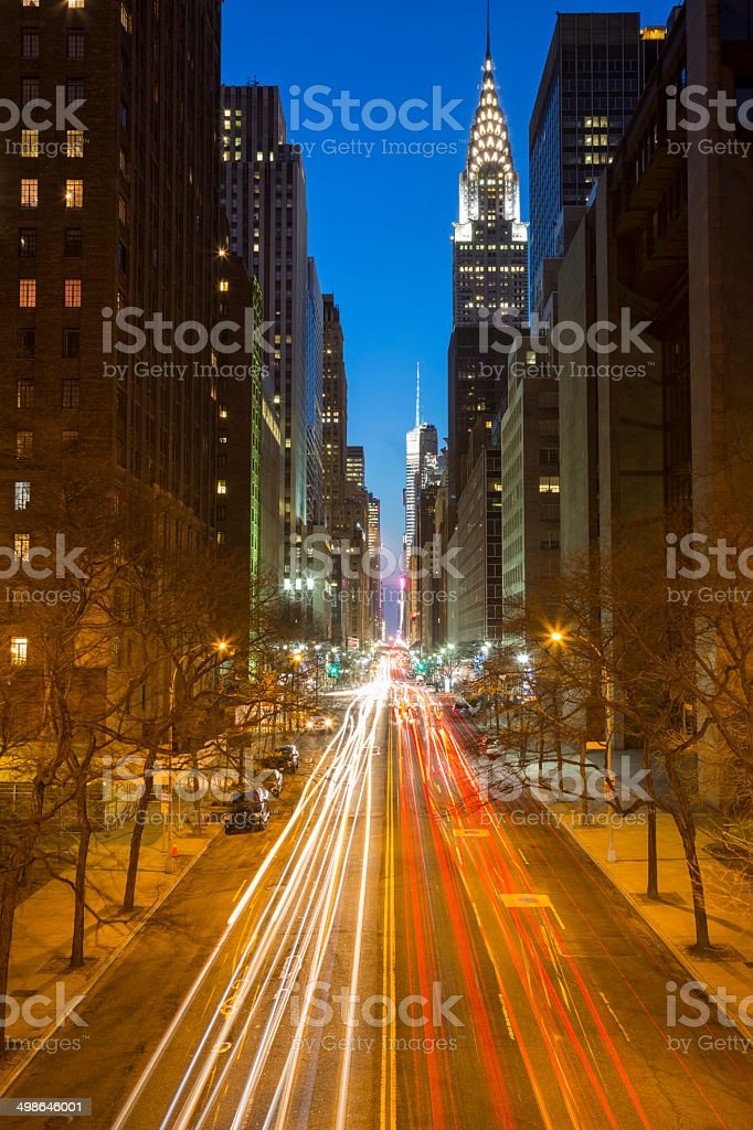 New York Street With Traffic at Night royalty-free stock photo