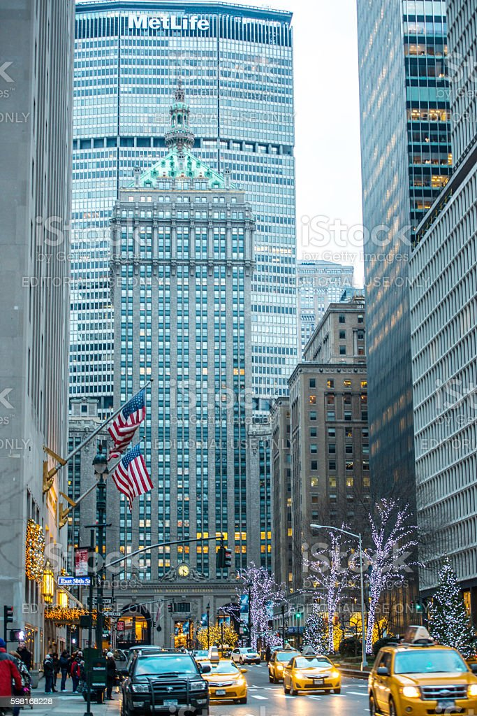 New York streets in winter, USA stock photo