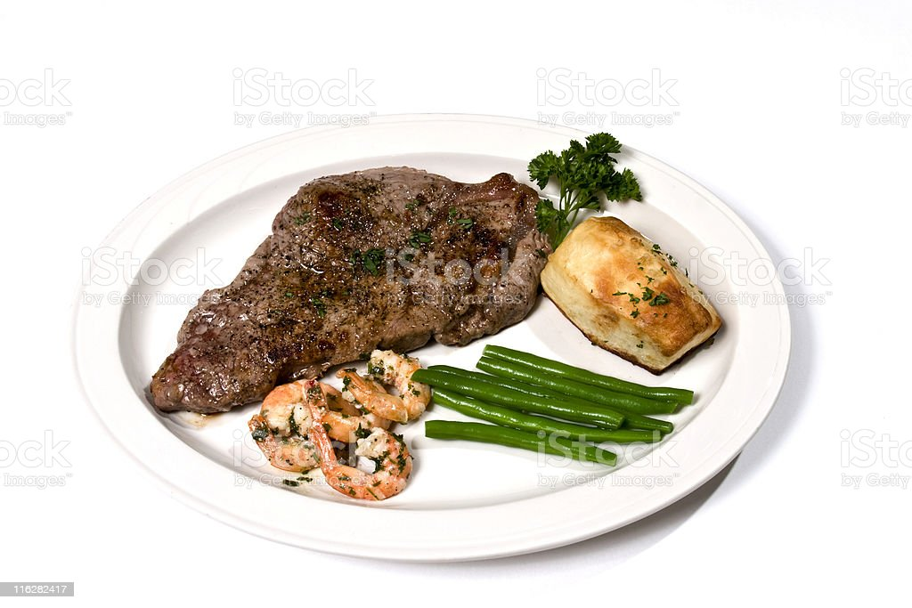New York Strip Steak Dinner Isolated on White royalty-free stock photo