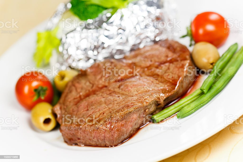 New York Strip Steak,grilled,with green Beans,Broccoli royalty-free stock photo