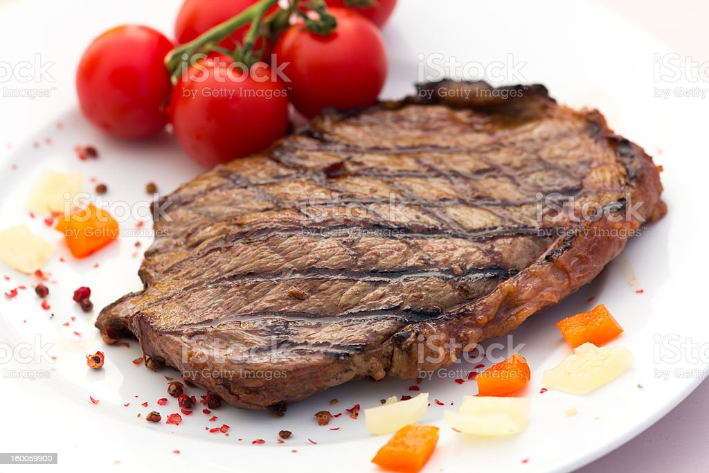 New York Strip Steak,grilled,with paprika royalty-free stock photo