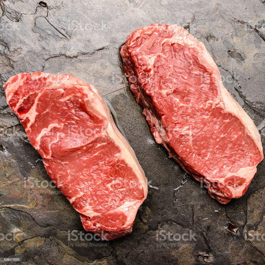 New York Strip Steaks stock photo