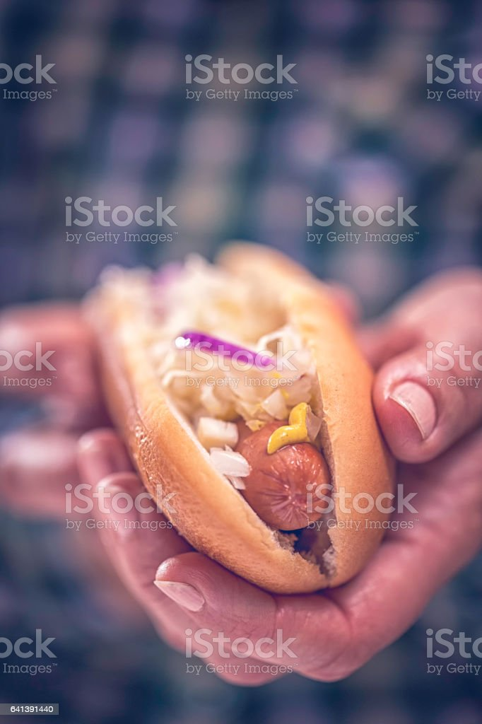 New York Style Hot Dog with Sauerkraut stock photo