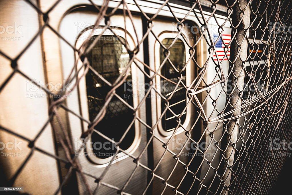New York subway train passing on Manhattan Bridge stock photo