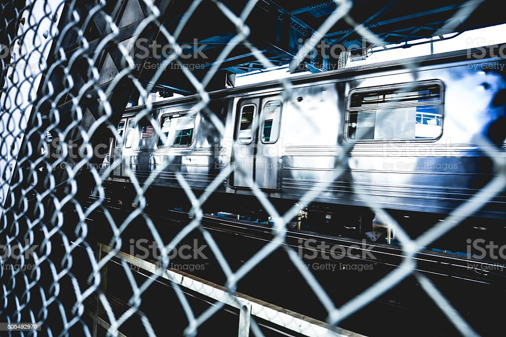 New York subway train passing on Manhattan Bridge stock photo