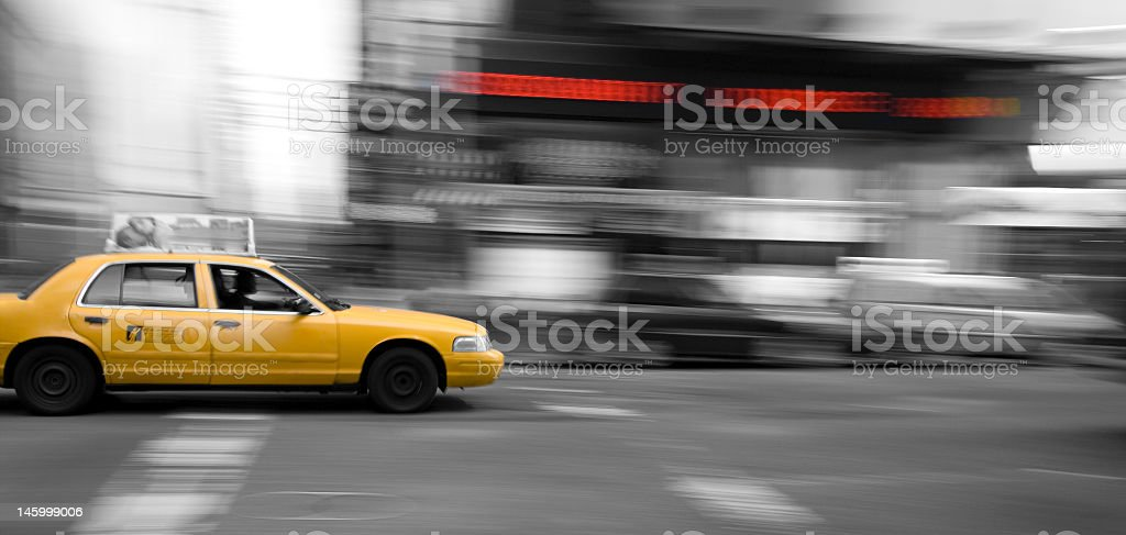 New York Taxi Cab in motion stock photo