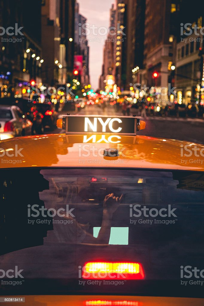 New York taxi in downtown stock photo