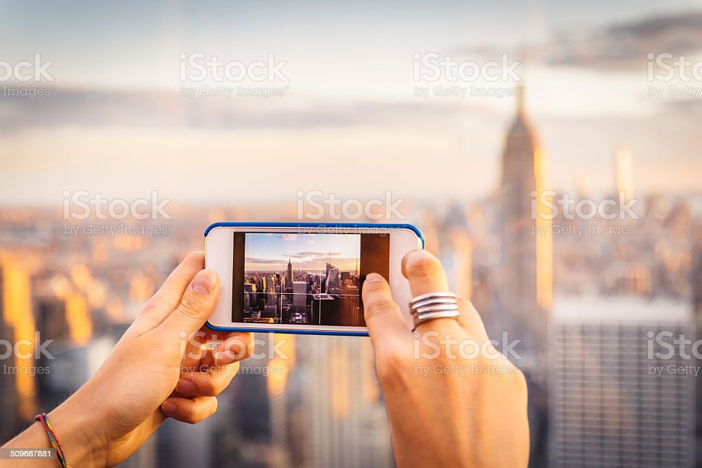 New York through the lens of a smartphone stock photo