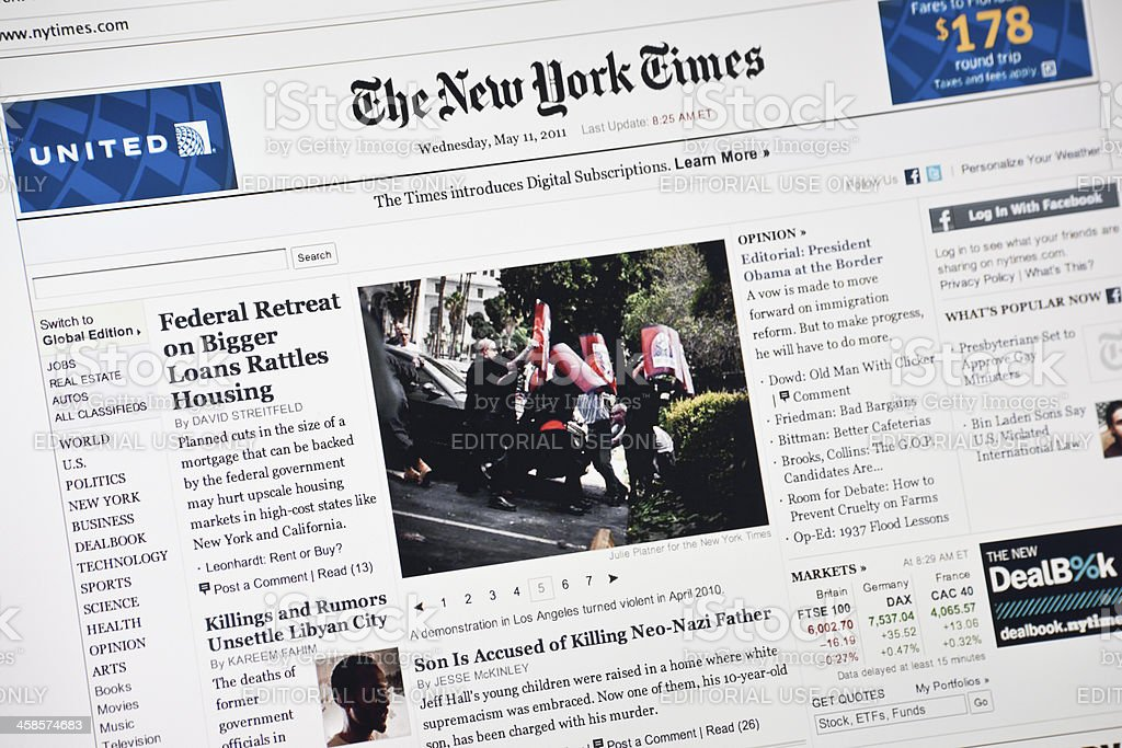 New York Times Hompage royalty-free stock photo