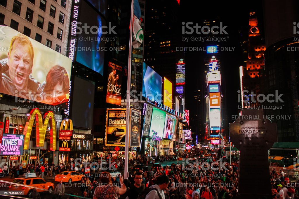 US New York Times Square Night stock photo