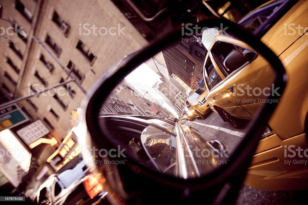 New York Traffic Jam in car rear mirror royalty-free stock photo
