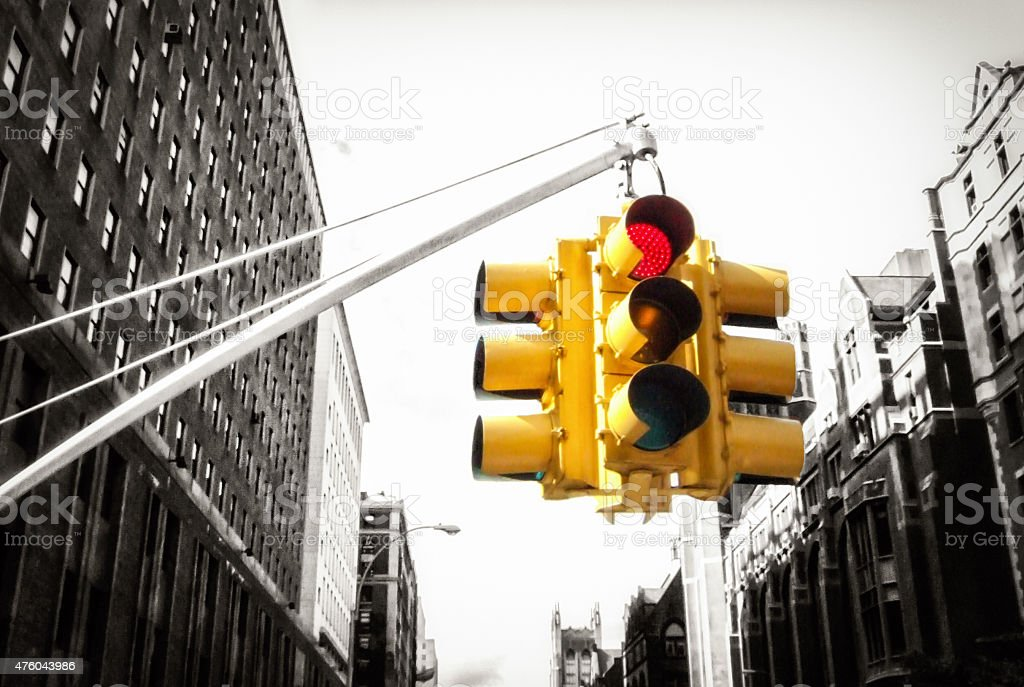 New York traffic light on with black and white background stock photo