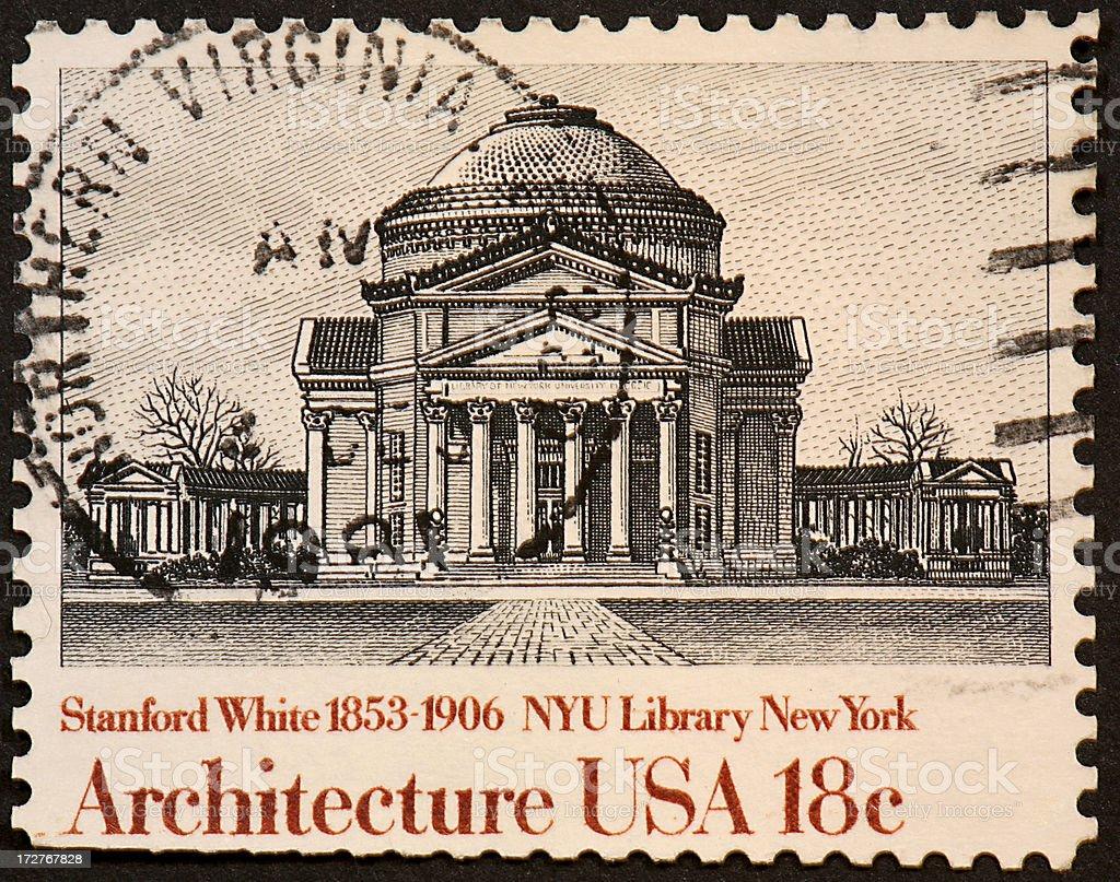 New York University Library stamp royalty-free stock photo