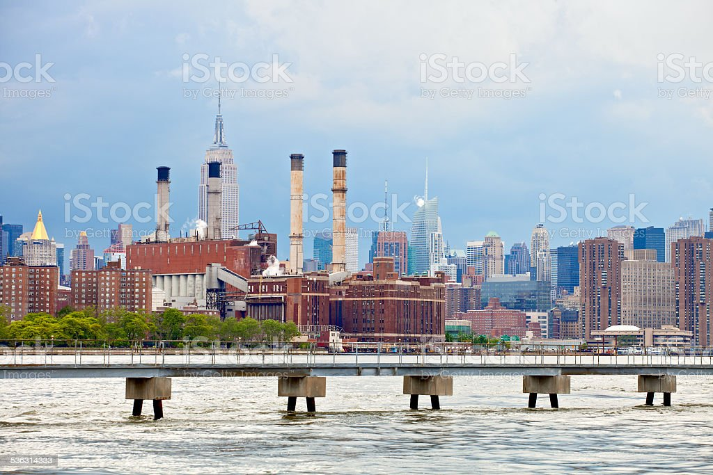 New York USA, industrial factory plant in the city stock photo