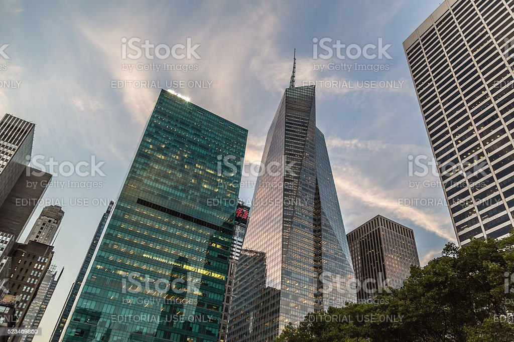 New York, USA: NYC Skyline near Bryant Park stock photo