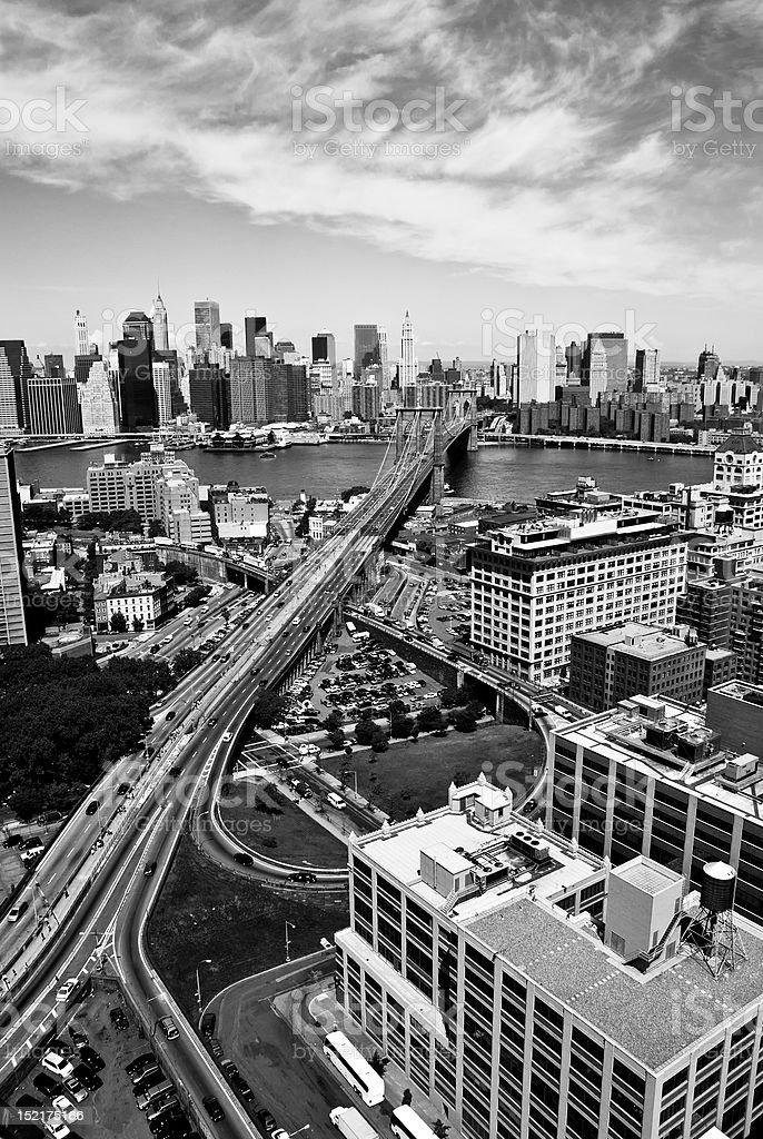 New York viewed over the Brooklyn Bridge royalty-free stock photo