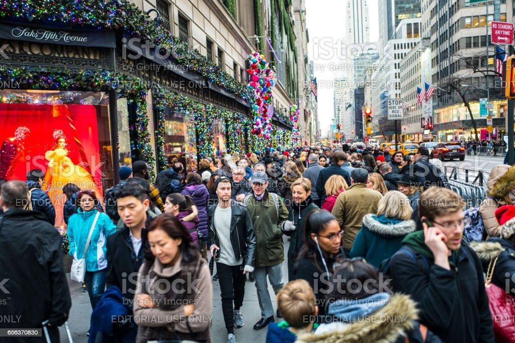 New York winter on 5th Avenue stock photo