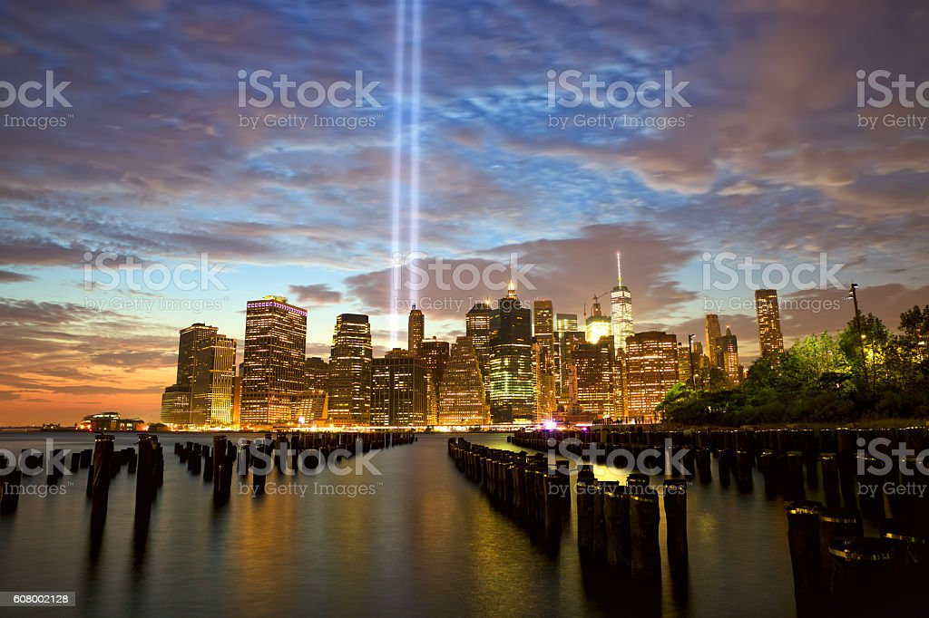 New York with Tribute in Light stock photo