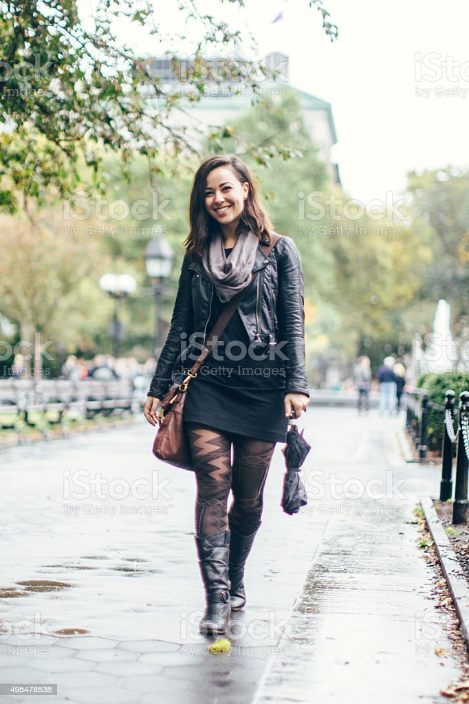 New York Woman in Washington Square Park stock photo