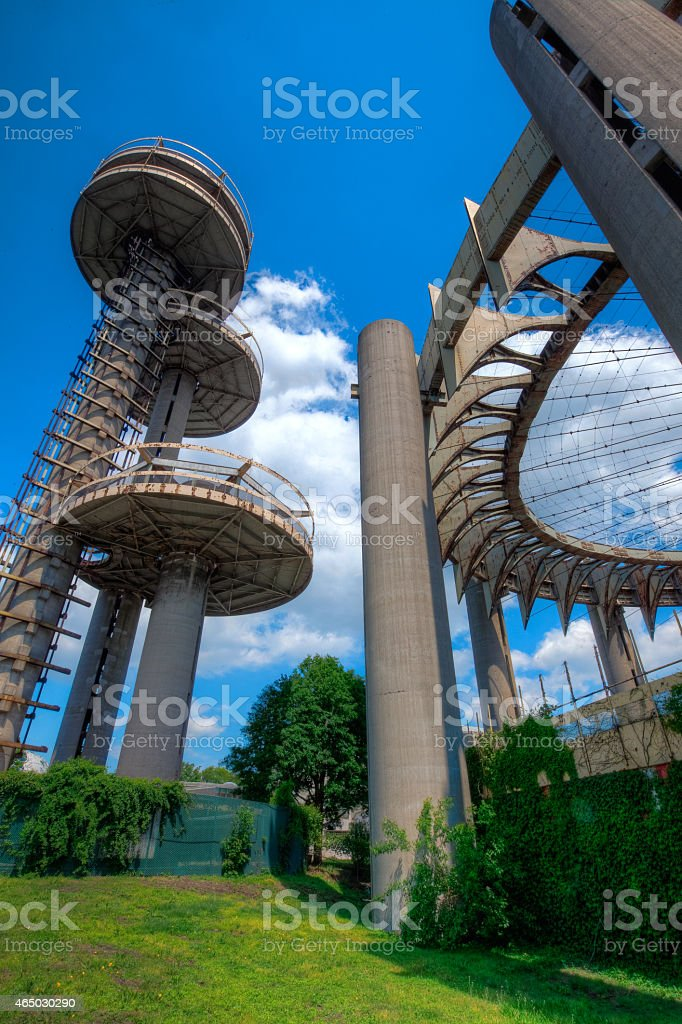 1964 New York World's Fair Observation Towers stock photo
