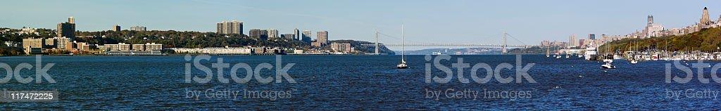 New York, XXXL panorama: Hudson River and Washington Bridge royalty-free stock photo