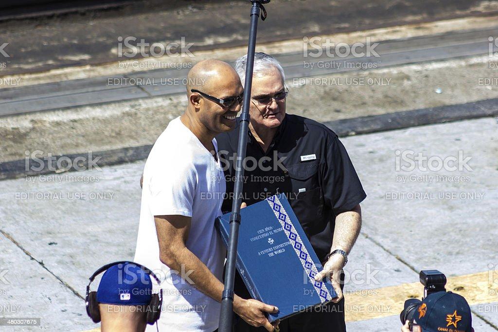 New York Yankees Mariano 'Mo' Rivera, at Panama Canal Ceremony stock photo