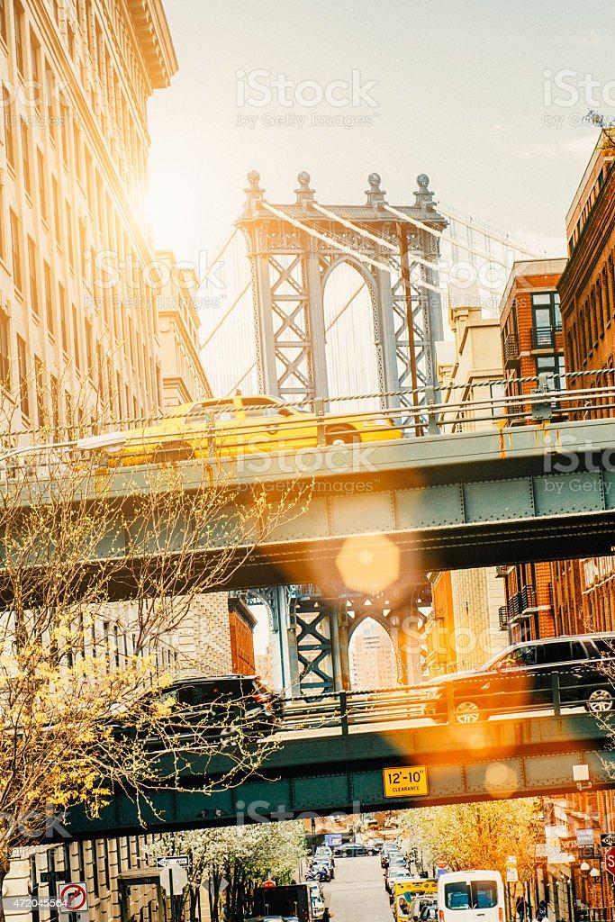 New York Yellow Taxi Manhattan Bridge stock photo