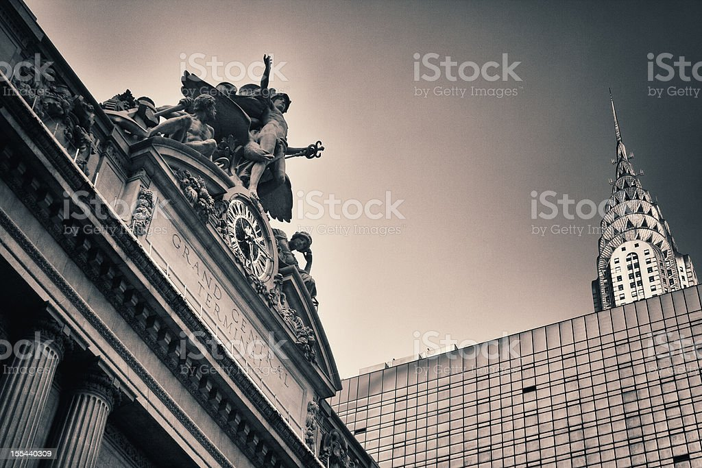 New York's Grand Central Station next to Chrysler building stock photo