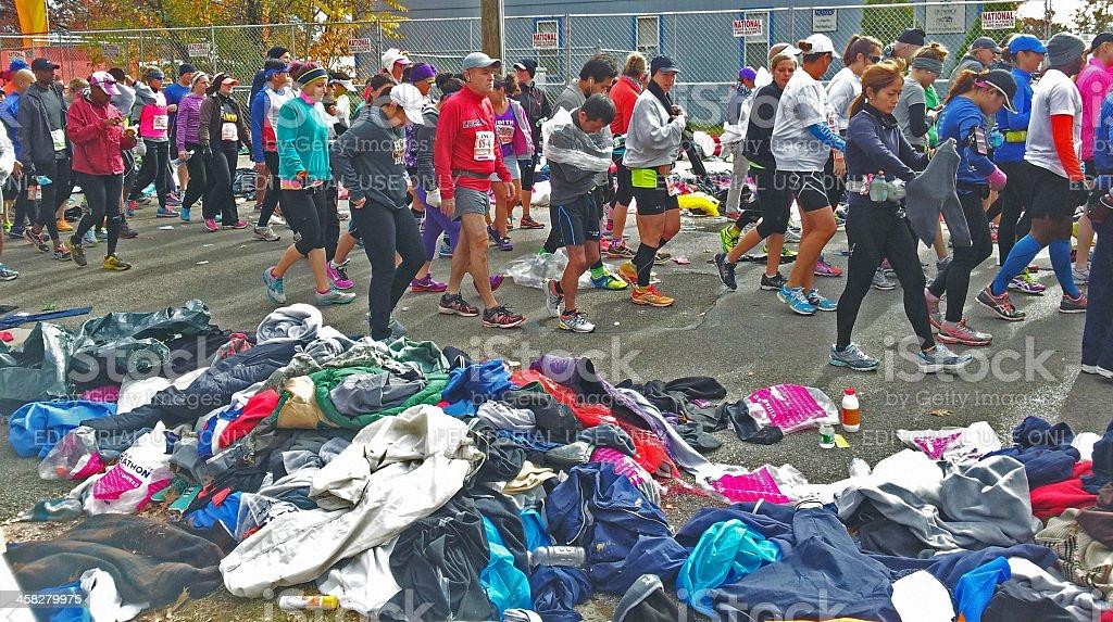 New Yourk Marathon, November, 3, 2013: charity donations stock photo