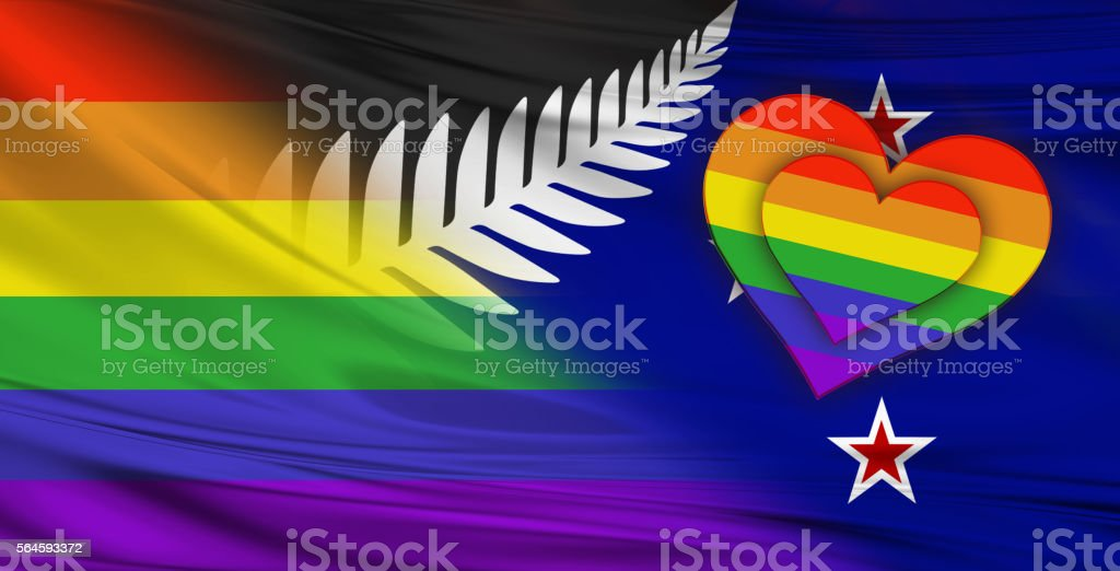 New Zealand and Rainbow Flag stock photo