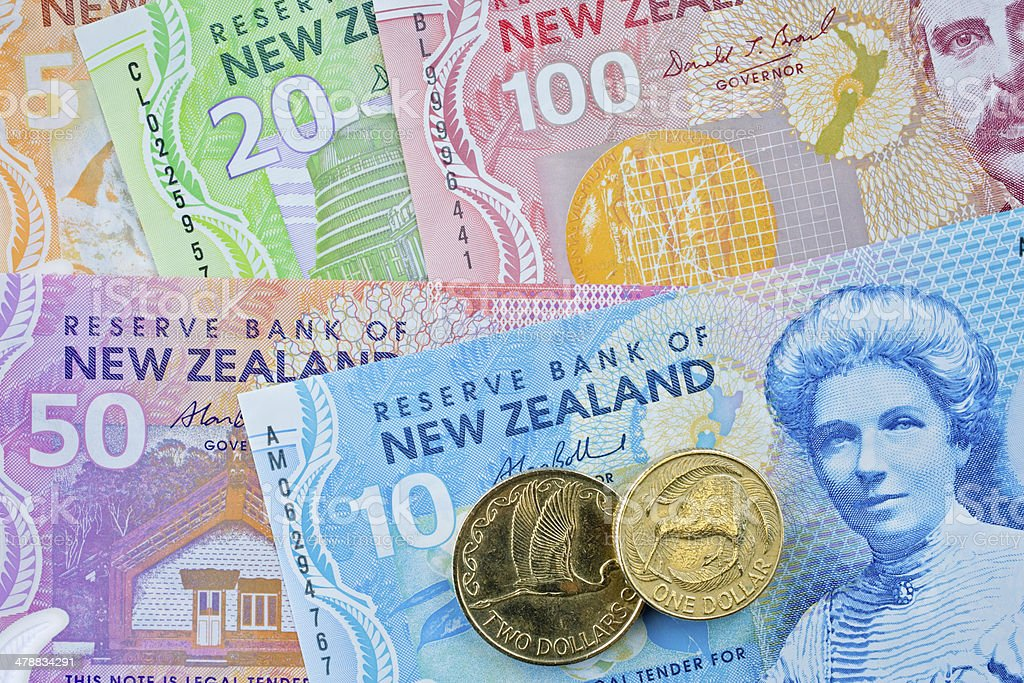 New Zealand Bank Notes Background stock photo
