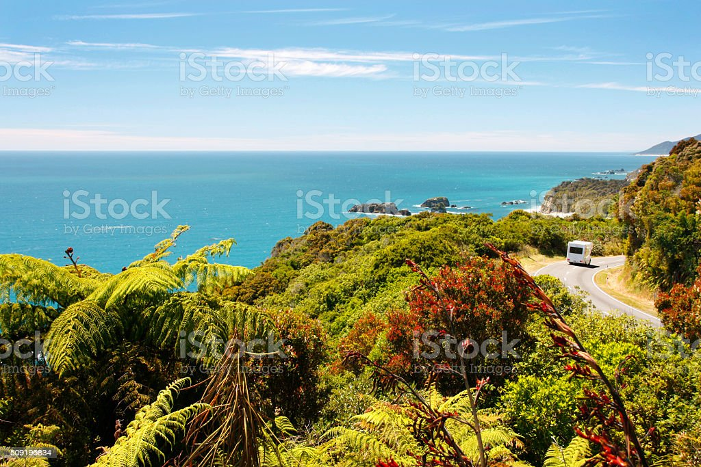New Zealand camping stock photo