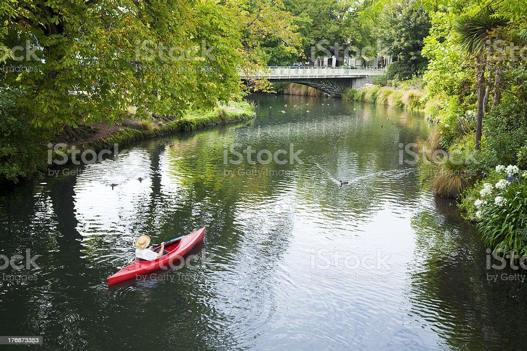 New Zealand Christchurch Avon River Woman Kayak stock photo