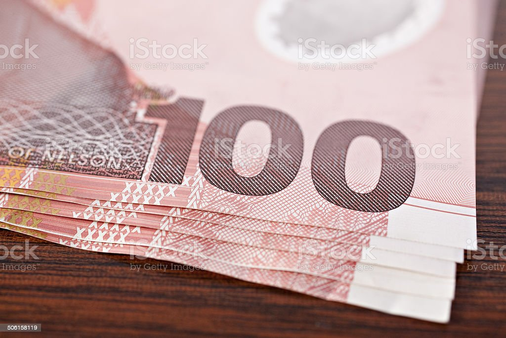 New Zealand Currency $100 Banknotes stock photo