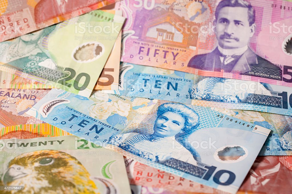New Zealand Currency Background stock photo