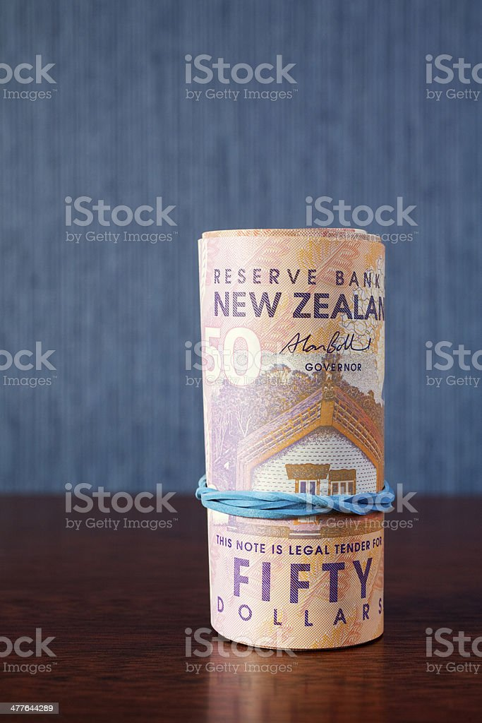 New Zealand Currency Money Roll royalty-free stock photo