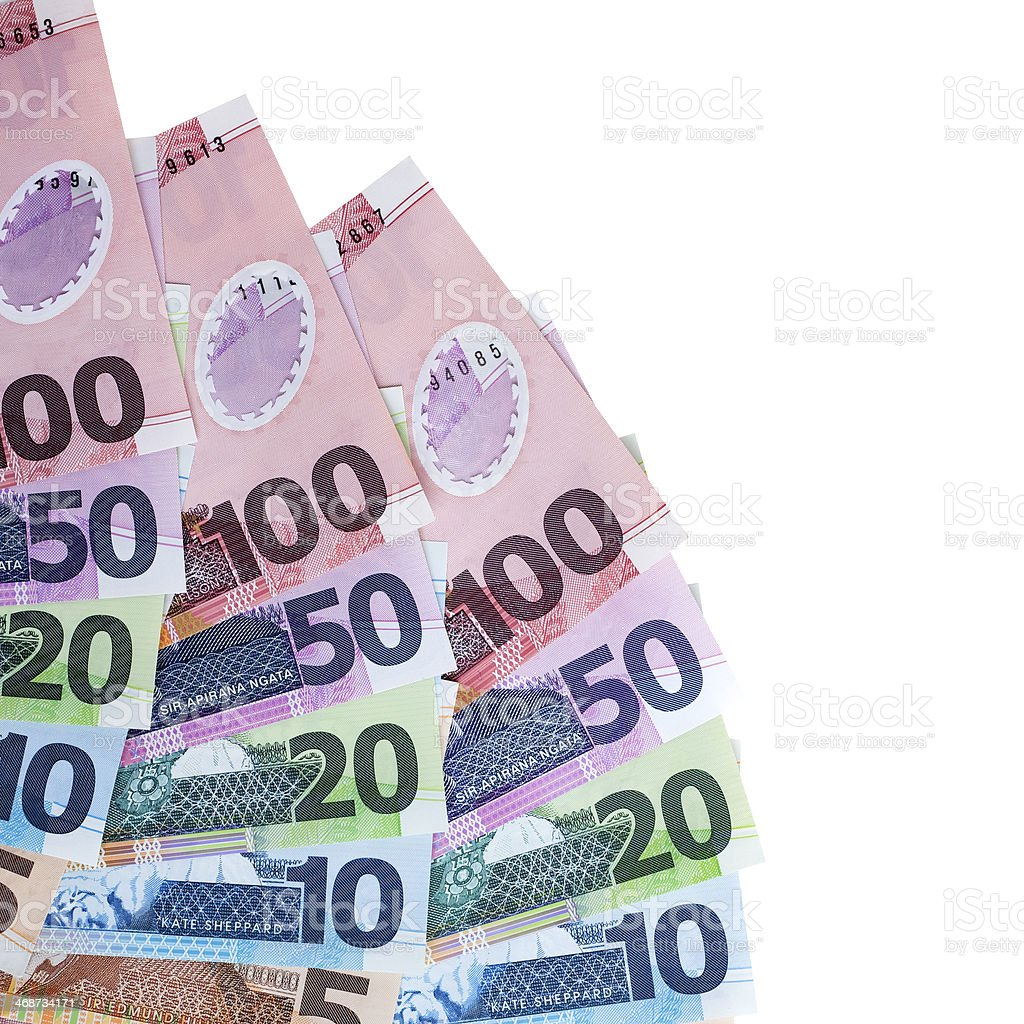New Zealand Currency on White stock photo