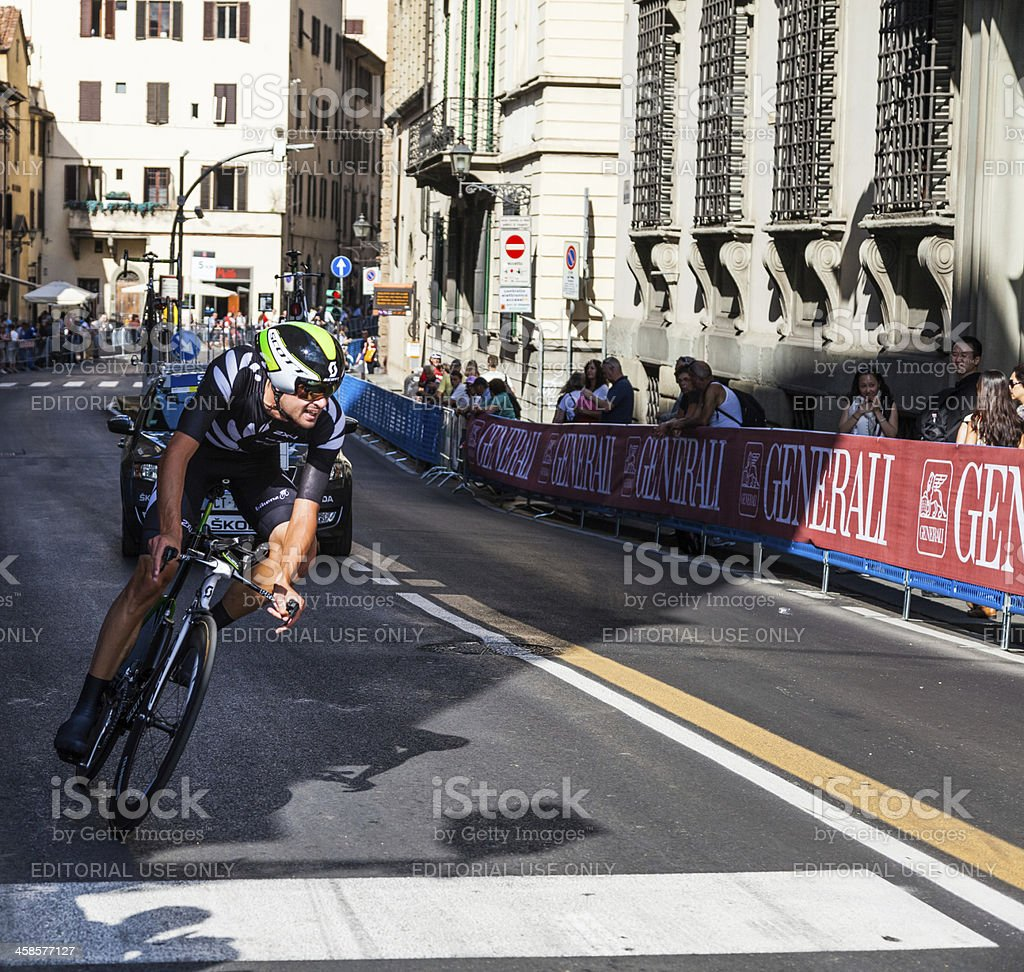 New Zealand cyclist in Firenze at the Individual time trial stock photo
