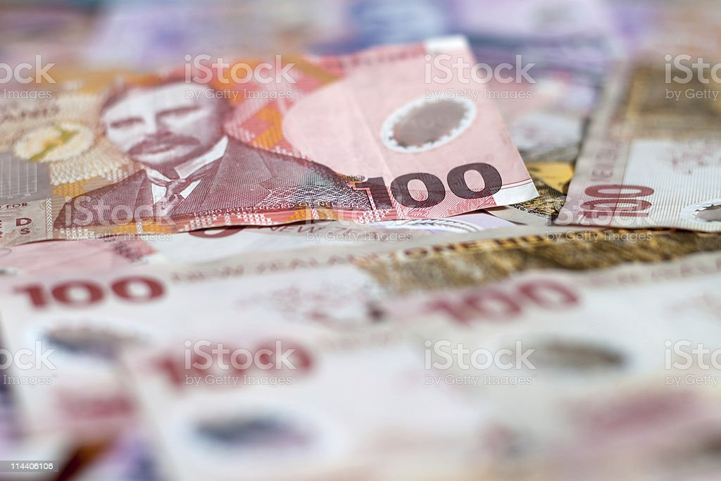 $100 New Zealand Dollar Background stock photo