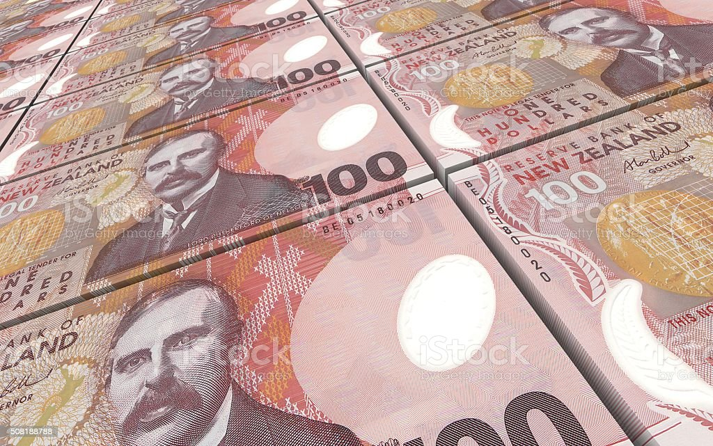 New Zealand dollar bills stacks background stock photo