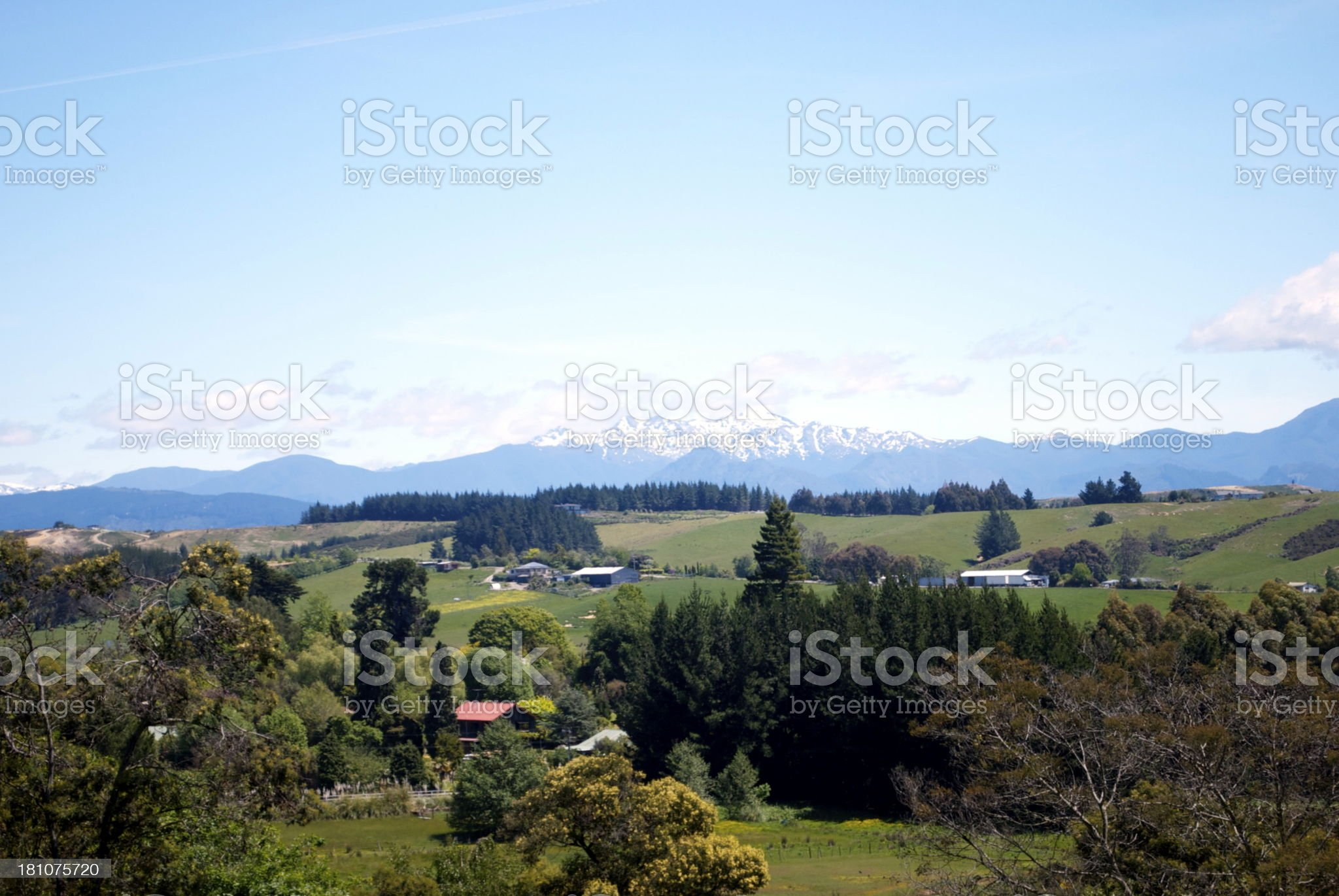 New Zealand Farmland Scene, Moutere royalty-free stock photo