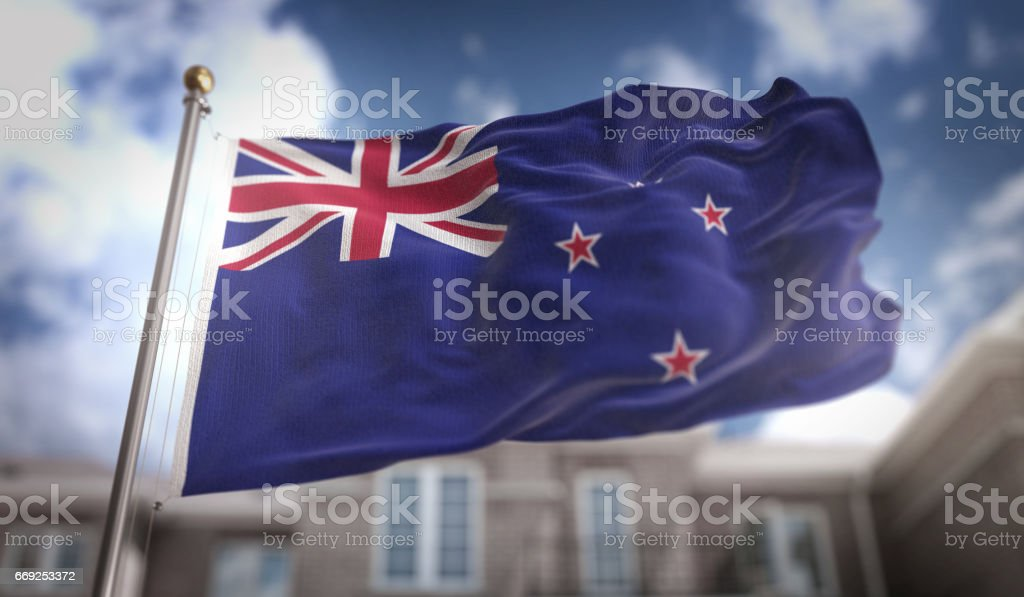 New Zealand Flag Flag 3D Rendering on Blue Sky Building Background stock photo