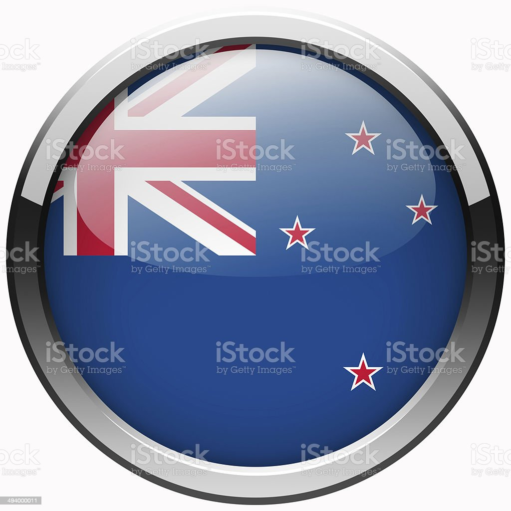 new zealand flag gel metal button stock photo