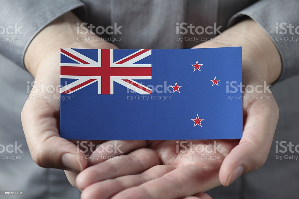 New Zealand flag in palms stock photo