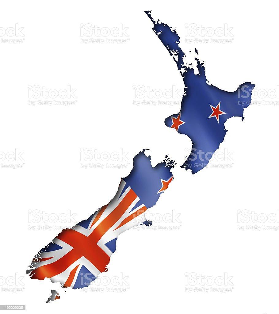 New Zealand flag map stock photo