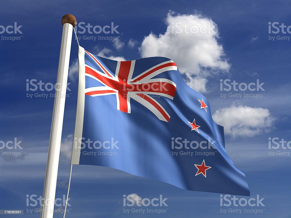 New Zealand flag (with clipping path) royalty-free stock photo