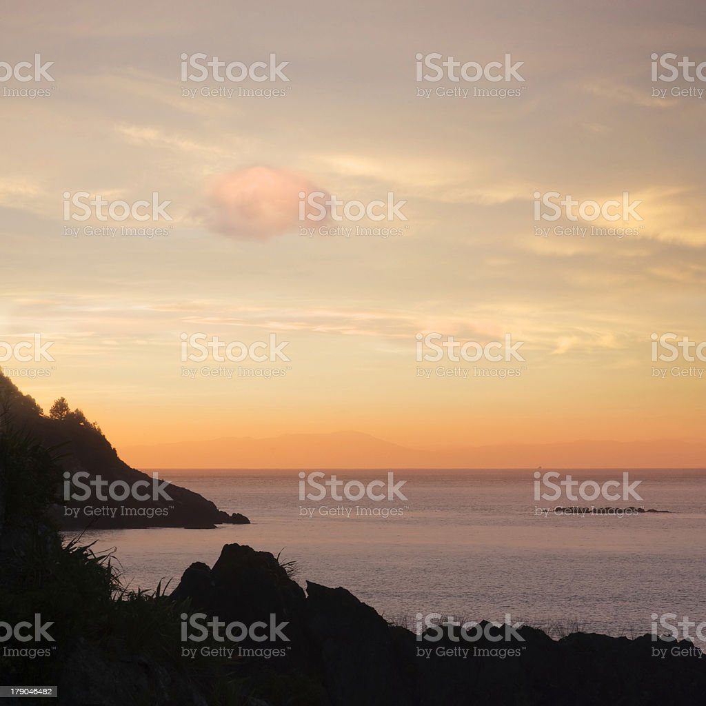 New Zealand Marlborough Sunset royalty-free stock photo