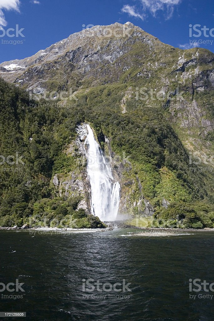 New Zealand Milford Sound Waterfall royalty-free stock photo