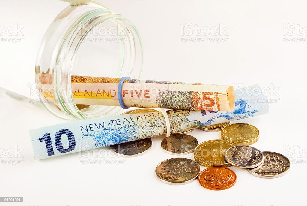 New Zealand Money and Jar stock photo