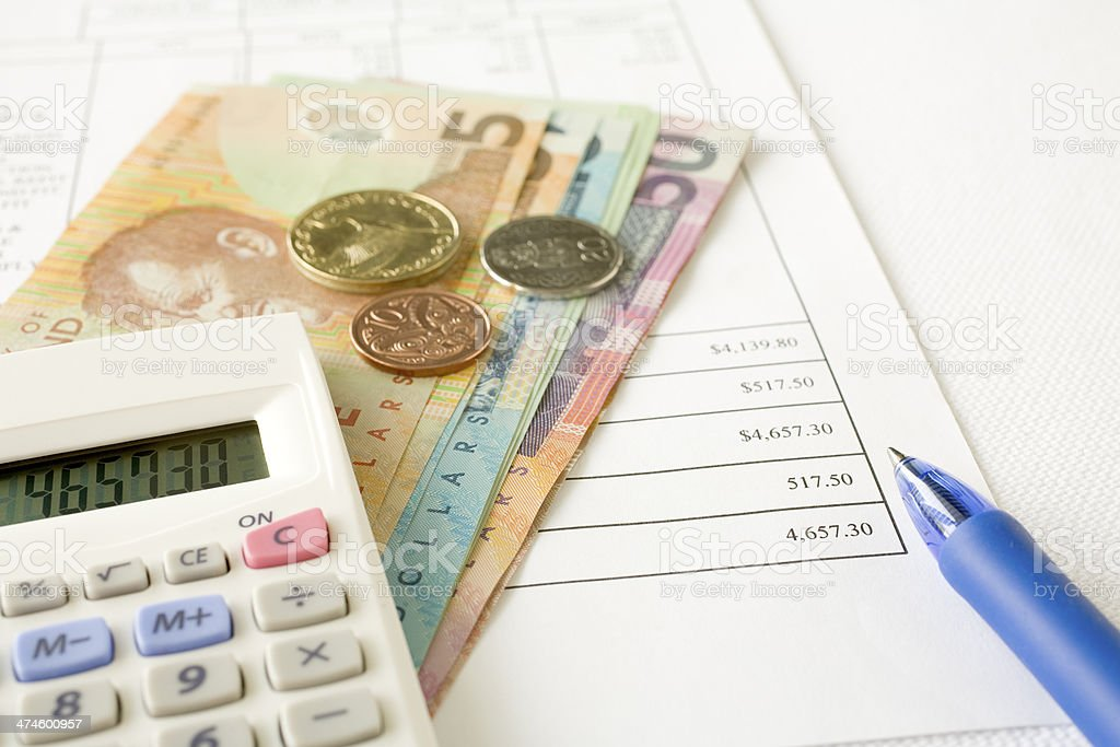 New Zealand Money and Paying Bills stock photo